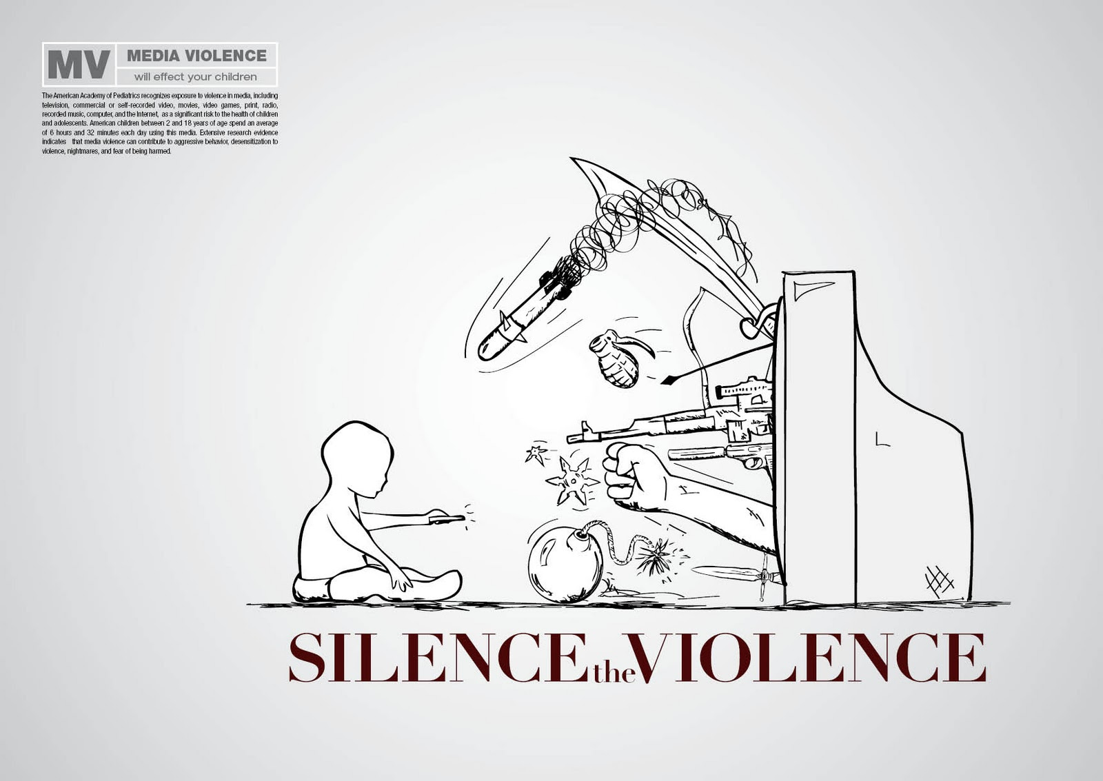 media violence and children There is now consensus that exposure to media violence is linked to actual violent behavior — a link found by many scholars to be on par with the correlation of exposure to secondhand smoke and the risk of lung cancer.